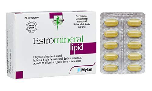 Estromineral Lipid Integratore Alimentare Menopausa con Isoflavoni di Soia, Fermenti Lattici, Berberis Aristata e Vitamina D3, senza Glutine e Lattosio, 20 Compresse