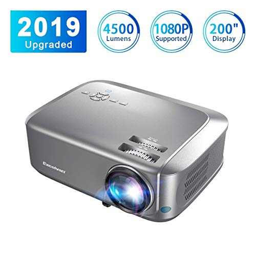Beamer Full HD Excelvan Projektor 4500 Lumen leinwand Beamer Unterstützung 1080P Auflösung HD LCD 1080P/USB/VGA/SD/HDMI Projector für Heimbewegungen Kompatibel mit dem Box TV Box PC