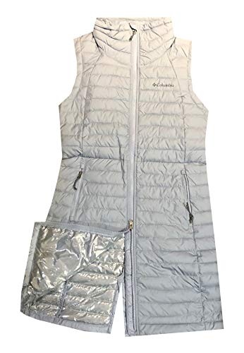 Columbia Women's White Out Long Puffer Omni Heat Full Zip Insulated Vest (Grey, M)