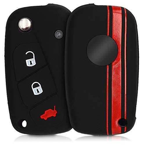 kwmobile Cover chiave compatibile con Fiat Lancia con 3 tasti - Guscio protettivo coprichiave morbido silicone TPU - Strisce Rally rosso/nero