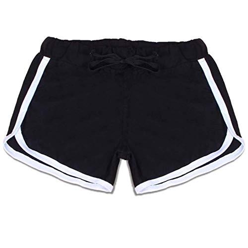 W.Z.H.H.H Brèves Sportives Femmes Yoga Sport Shorts en Vrac Coton fendus Taille élastique Femmes Shorts Taille Plus Workout Gym Leggings (Color : BW, Size : L)