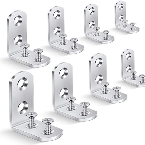 Corner Brace L Brackets Heavy-Duty - 40mmx40mm Right Angle Brackets Metal Corner Brackets 90 Degree Bracket for Wood Shelves Dressers Chairs 8 Pieces with Screws