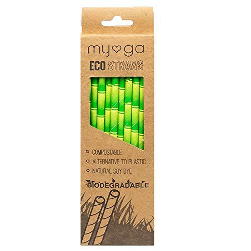 Myga Eco Strohhalme – 20 Stück wiederverwendbare Trinkhalme – 100% umweltfreundliche, biologisch abbaubare Alternative zu Kunststoff – kompostierbare, natürliche...