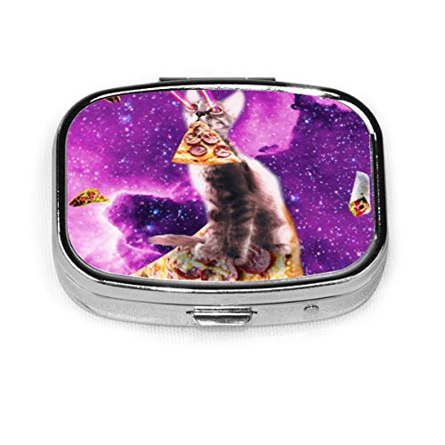 Space Cat Riding Bacon Custom Fashion Silver Square Pill Box Medicine Tablet Holder Wallet Organizer Case For Pocket Or Purse Vitamin Organizer Holder Decorative Box