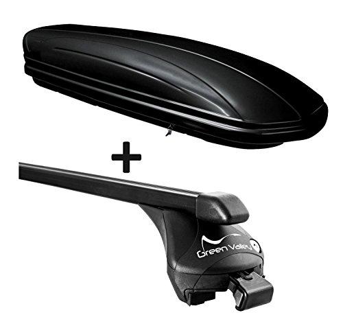 VDP Dachbox schwarz glänzend MAA320G günstiger Auto Dachkoffer 320 Liter abschließbar + Relingträger Dachgepäckträger aufliegende Reling im Set kompatibel mit Volvo V60 ab 2010 bis
