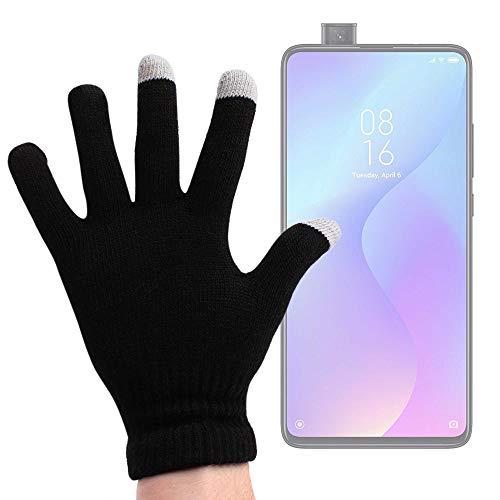 DURAGADGET Guantes Negros para Pantalla Táctil Compatible con Smartphone Xiaomi Mi 9T Pro, REALME 5, REALME 5 Pro - Talla Mediana - ¡Ideales para El Invierno!