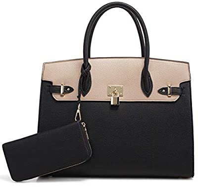DELUXITY Women's Designer Top Handle Satchel Handbag Tote Bag Briefcase 2pc set
