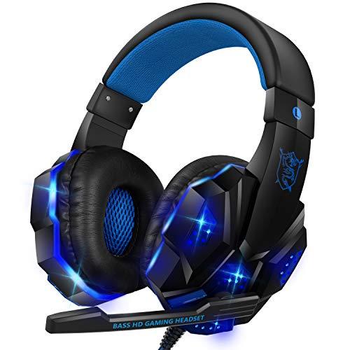 【2020 モデル】ゲーミングヘッドセット ヘッドセット 有線 高音質 LED マイク付き PC ヘッドホン マイク 重低音 伸縮可能 男女兼用