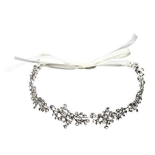 TYWZJ Diadema Nupcial Boho Crown Headpiece Crystal Hair Vine Flower Halo Joyería de Boda Tiara Accesorios para el Cabello con Cinta de Encaje para Fiesta Mujer Chica