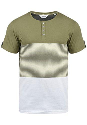 !Solid Marek Herren T-Shirt Kurzarm Shirt mit Streifen und Grandad-Ausschnitt, Größe:M, Farbe:Aloe (3612)