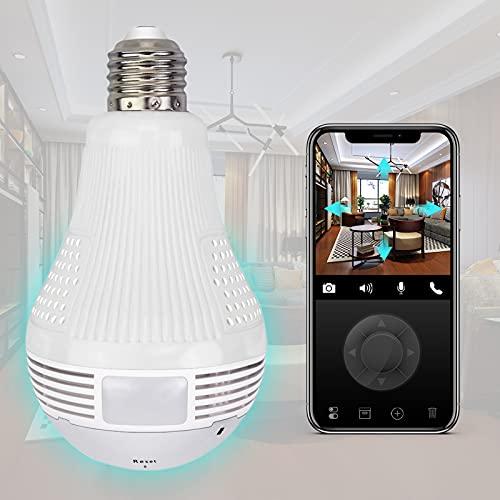 Light Bulb Camera, WiFi Camera, 360 Degree 1080P Cameras Surveillance Smart Camera with Night Vision IR Motion Detection…