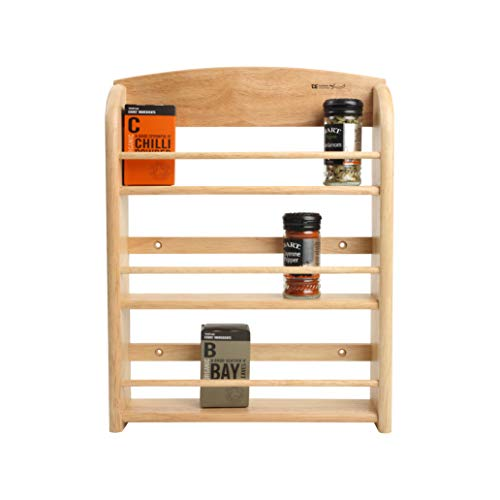T&G Scimitar 18-Jar Wall Spice Rack in Hevea, 32 x 7.5 x 41.5 cm (Includes Fixings)