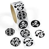 Sticker mit Piratentotenköpfen für Piratenparty und Kindergeburtstag 100 Aufkleber 4 verschiedene Motive Maße: ca. 3,5cm im Durchmesser