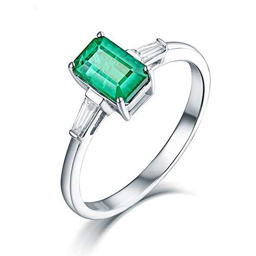 ANAZOZ Anillo Mujer Piedra Esmeralda,Anillo de Oro Blanco 18K Mujer Plata Verde Rectángulo Esmeralda Verde 0.84ct Diamante 0.2ct Talla 16