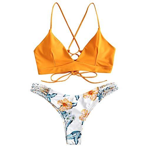 ZAFUL zweiteilig Bikini-Set mit Flechtgurt verstellbarem BH Push-Up Rücken, Triangle Bustle Badehose mit Blummenmuster (Gelb, S)