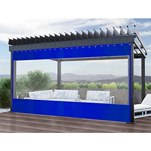 GAXQFEI Terrassvorhänge Im Freien, Transparentes Plastikplanenabdeckung, Wetterfest Mit Metall-Tülle, Alle 0,5M Für Carports, Deck, Zeltseitenvorhang,Klares Blau,1.8 * 2.5M