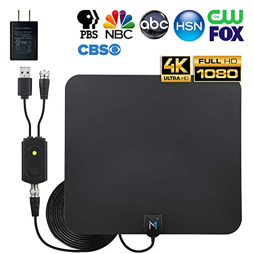 [Latest 2020 Advanced Chip] HDTV Indoor Antenna Long Range 200 Mile Signal Reception; High Power Amplifier to Boost Signal + 16.5 ft Coax Cable; Supports All HD Digital TV formats; Mata1 (US Company)