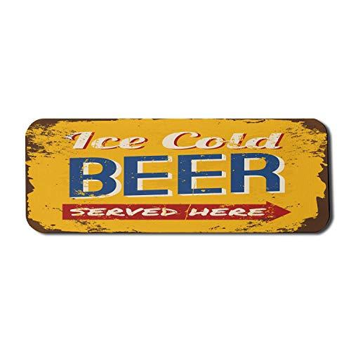 Mann Höhle Computer Mauspad, Vintage abgenutzte rostige Zeichen Design mit eiskaltem Bier hier serviert Getränkedruck, Rechteck rutschfeste Gummi Mousepad große mehrfarbig