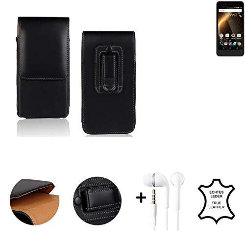 K-S-Trade® Leder Gürtel Tasche + Kopfhörer Für Allview P6 Energy Mini Seitentasche Belt Pouch Holster Handy-Hülle Gürteltasche Schutz-Hülle Etui Schwarz 1x