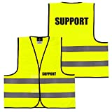 Warnweste Gelb Orange, beidseitig bedruckt auf Brust und Rücken mit Ordner, Security große Auswahl Motive Aufdrucke 038 Support (Gelb) M
