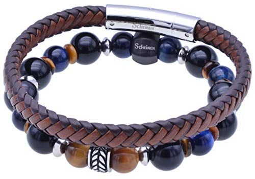 ScHEiNEN Healing Crystal Beaded Stretch Bracelet for Men Gift Box Set   Real Semi Precious Gemstone Round Beads   Stainless Steel First-Grain Leather Bracelet (Tiger Eyes & Brown Leather)