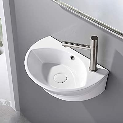 """VESLA HOME Commercial 18""""x12"""" Small Oval White Ceramic Corner Wall Mount Sink,Floating Tiny Wall Hung Bathroom Sink Mini Porcelain Vanity Vessel Sink For Small Bathroom,Right Hand"""