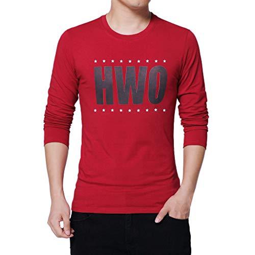 Xmiral Herren T-Shirt Lässiger Brief Druck Pure Color Langarm Tops Bluse Bodenbildung Draußen Kostüm(S,Rot)