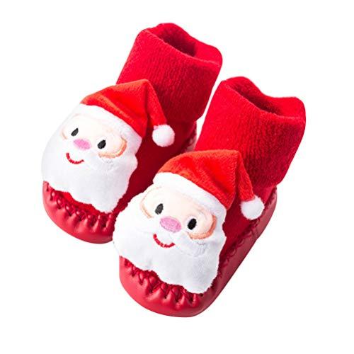 FENICAL Navidad Zapatos de bebé Calcetines Antideslizantes Calcetines del Piso Zapatilla de Navidad para niños de Regalo