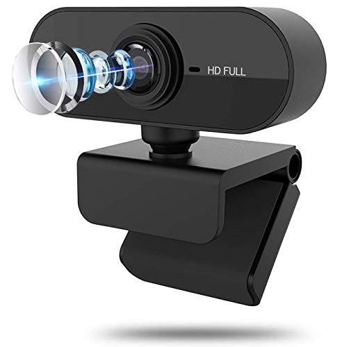 1080P HD Webcam with Microphone, Webcam for Laptop or Desktop Webcam, USB Computer Camera, Gaming Conferencing, 110-Degree Widescreen Web Camera with 360° Rotat Black