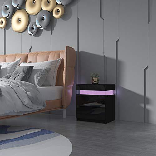 Senvoziii Nachtschrank Kommode mit 2 Schubladen Nachttisch Schubladen Schlafzimmer Hochglanz Beistelltisch RGB LED Beleuchtung - Schwarz