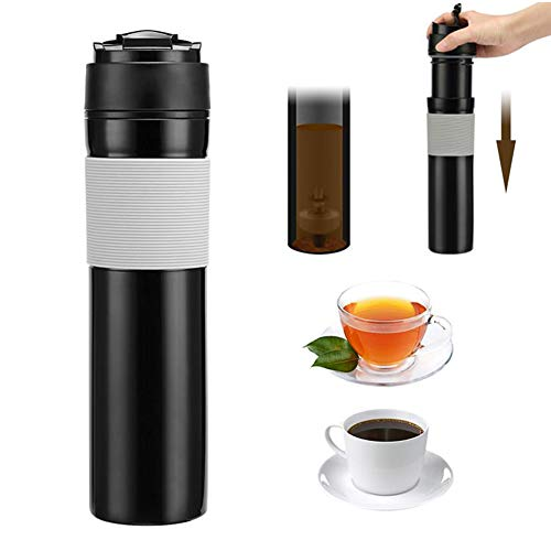 porfeet Cafetera portátil de 300 ml de prensa francesa taza de filtración de aislamiento de agua tazas de té para acampar picnic al aire libre negro
