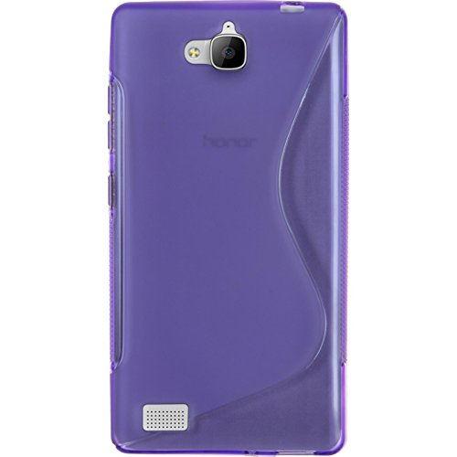 PhoneNatic Case kompatibel mit Huawei Honor 3C - lila Silikon Hülle S-Style + 2 Schutzfolien - 3