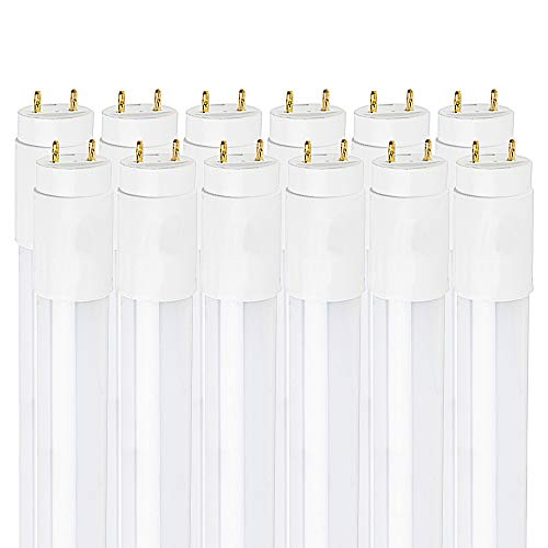 Luxrite 4FT LED Tube Light, T8, 18W (32W Equivalent), 3500K Natural White, 2100 Lumens, Fluorescent Light Tube Replacement, Direct or Ballast Bypass, DLC and ETL Listed (12 Pack)