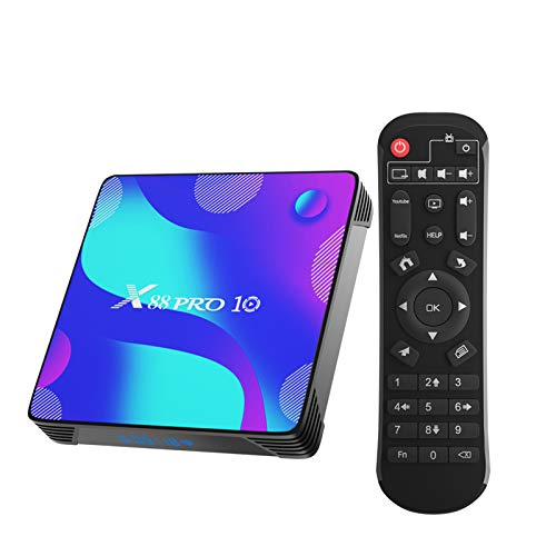 X88 Pro 10 TV Box, Android TV Box 10.0 4GB RAM 64GB ROM RK3318 Quad-Core Soporte 2.4G/5.8G Dual WiFi Bluetooth 4.0 Ethernet LNA 3D 4K