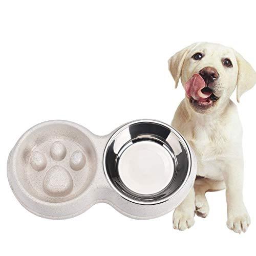 Queta Hundenapf Fressnapf Katzenapf, Anti Schling Doppel Napf, Langsames Fressen, Slow Feeder Hundenapf Futternapf für Hund & Katze, Reduziert Verschlucken und Überessen In einem verbesserten (Weiß)