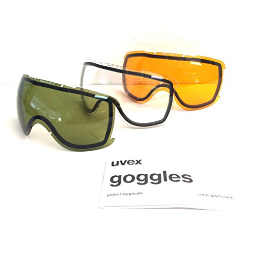 Uvex Sports Downhill 2000 Snow Goggle Replacement Lens - 3-Pack - 558109 (CLR, GOLDLITE, Radar)
