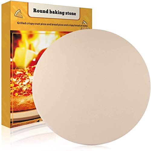 """JulyPanny Pizza Stone, 15"""" Ceramic Pizza Grilling Stone/Baking Stone, Perfect Baking Tools for BBQ and Grill - Thermal Shock Resistant, Safe and Durable Pizza Pan"""
