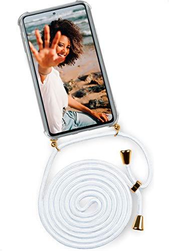 OneFlow Cover a Tracolla - Case per Cellulare in Silicone con Laccio per Il Collo Bianco Oro - Custodia con Cordino Compatibile con Samsung Galaxy S20 Fe/Fe 5G