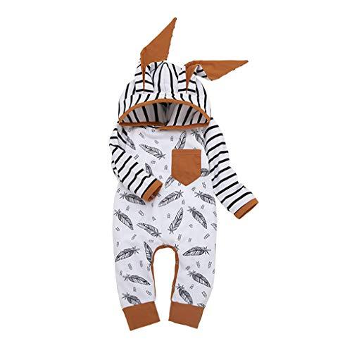 INLLADDY Bekleidung BabyKleindung Baby Mädchen Junge Kleidung Set Lange Armel T-Shirt Tops Lange Hosen Hut Snuggle Romper Strampler C 80