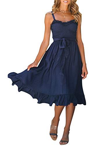 MsLure Damen Kleid Elegant Sommer Ärmellos Rückenfrei Spaghettiträger Volant Schleife Smocked Midi Dress Mit Bund Navy,Navy,EU 40/L