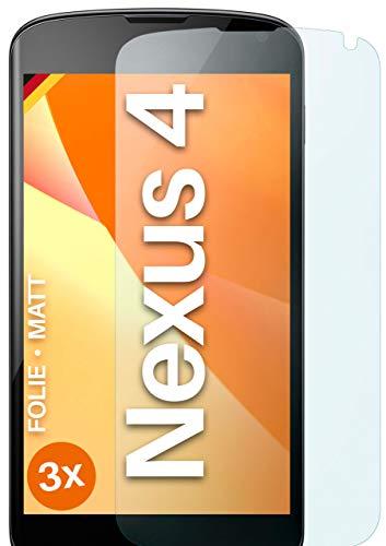 moex Schutzfolie matt kompatibel mit LG Google Nexus 4 - Folie gegen Reflexionen, Anti Reflex Bildschirmschutz, Matte Bildschirmfolie - 3X Stück
