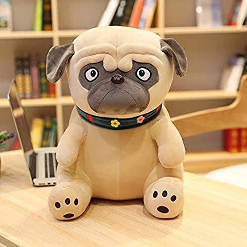 siyat Plüsch Mops Toys Simulation Hundepuppe Weiche Gefüllte Tier Shar Pei Mops Plüsch Kissen Kinder Spielzeug Weiche lebensechte Cartoon Puppen Mädchen Geschenk (Farbe: A, Höhe: 50 cm) Jikasifa