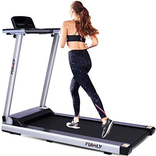 FUNMILY Folding Electric Treadmill, 12 preset Programs, Heavy Duty Steel Frame Treadmills with Large Desk,  Best 2.25HP Exercise Jogging Walking Running Machine for Home Gym Office Workout