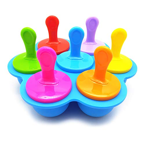 7 Cell Silicone Mini Ice Mold Ice Cream Ball Lolly Maker Mould Baby DIY Food Yogurt Icebox