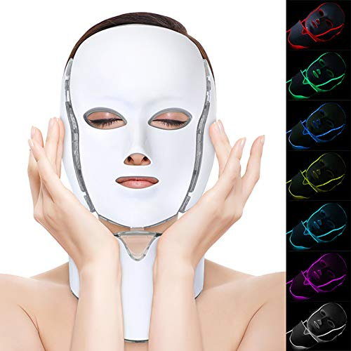 Luminothérapie, machine de soins de la peau du visage à photon à 7 couleurs, kit d'instruments de traitement pour raffermir la peau anti-âge, améliorer les ridules, réduire l'acné (UK)
