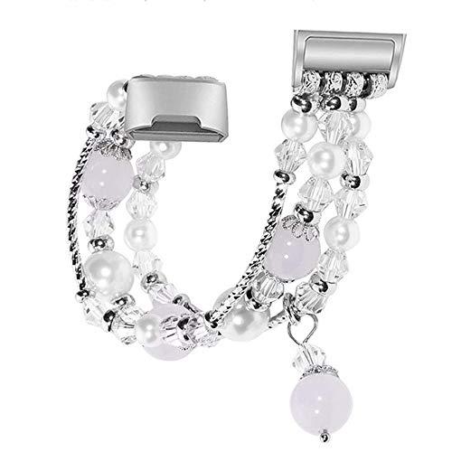 Reety kompatibel für Fitbit Charge 3 Strap, Fashion Handmade Faux Perle Perlen Schmuck Armband Elast (Silber)