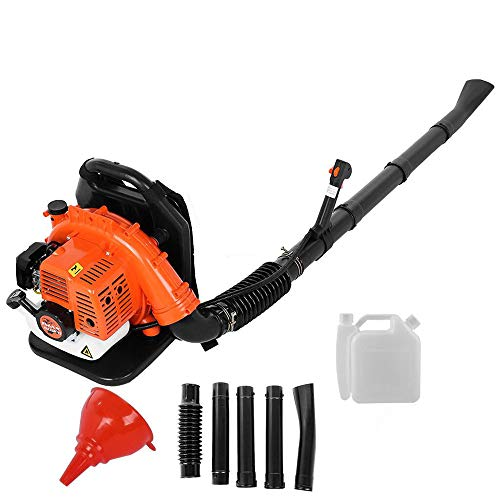 Backpack Leaf Blower Gas Powered 65CC, 2-Cycle Engine Gasoline Blower 850CFM with Nozzle Extension for for Lawn Garden Blowing Leaves, Snow Debris and Dust (Orange)