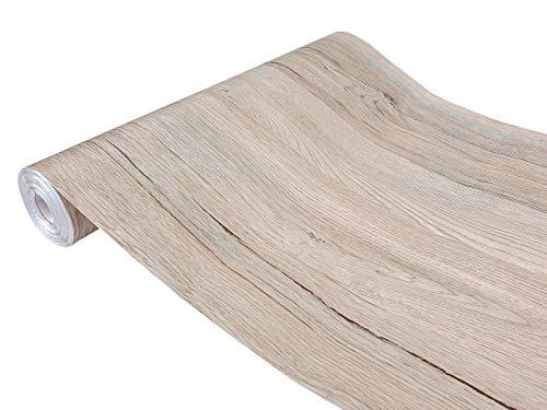 DecoMeister Klebefolien in Holz-Optik Holzfolien Deko-Folien Holzdekor Selbstklebefolie Möbelfolie Selbstklebend Holz-Maserung 90x100 cm Sanremo Eiche Sand