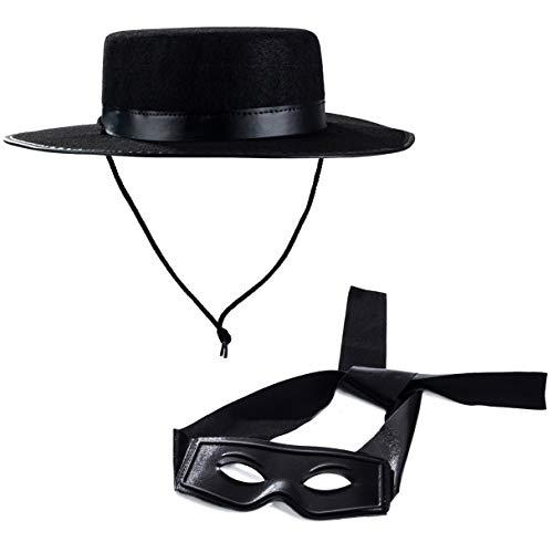 Tigerdoe Zorro Kostüm Zorro Hut und Maske Zorro Zubehör Kostümzubehör Schwarz