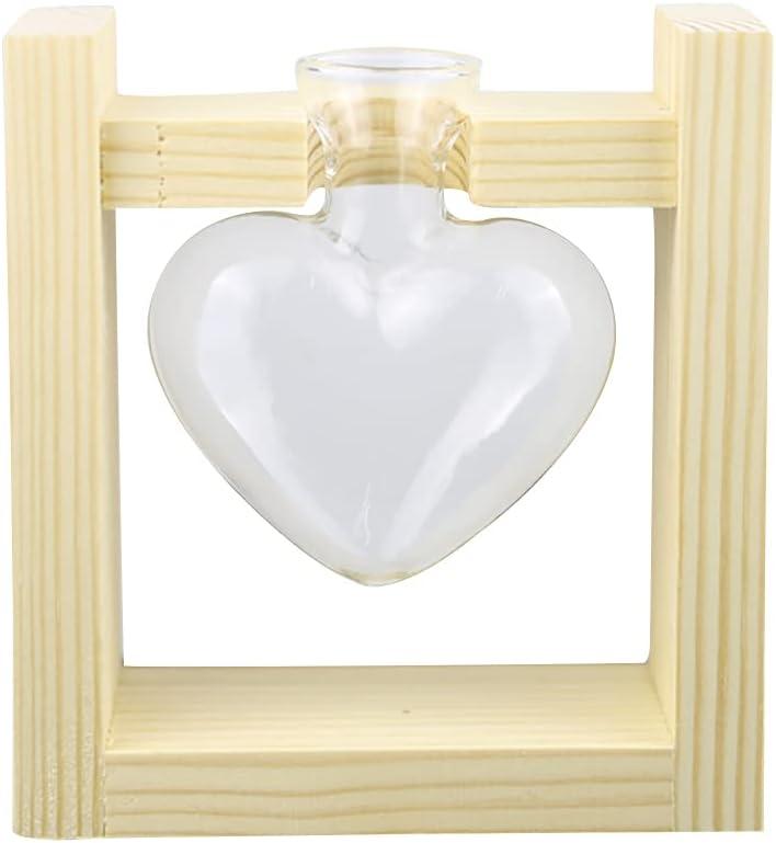 LEAMER Florero con forma de corazón para plantas, soporte de madera, jarrón de cristal, estaciones de propagación de plantas de mesa, florero para decoración del hogar, jardín, oficina